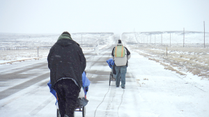 Walking on a New Mexico road on New Year's Day — just after winter storm Goliath hit the area.