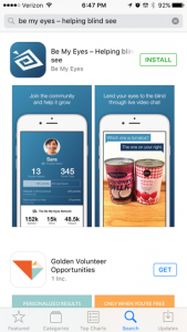 Be My Eyes is a free application that links volunteers with users to offer them assistance by verbally describing whatever users show them on their smartphones' cameras, from street signs to instruction booklets.