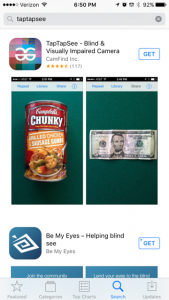 TapTapSee can verbally identify everyday objects in real time. It reads barcodes and also draws upon cloud-based image recognition technology. It's a free application.