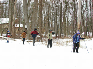 People learning how to ski at Reinstein Woods Nature Preserve in Cheektowaga.