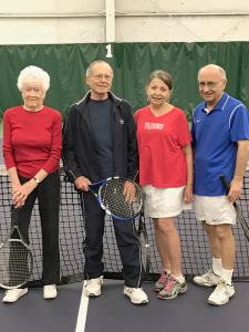 Tennis foursome at Miller Tennis Center in Williamsville is, from left, Faye Lueth, Tom Kalman, Judy Behr and Ernie Beck. Photo courtesy of Judy Behr.