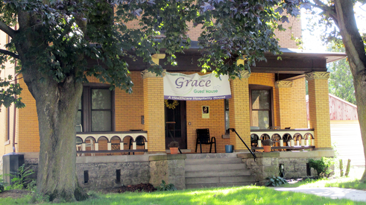 Grace Guest House exterior. The facility, at 2315 Seneca St., is an easy walk through the park to Mercy Hospital. It will give people a place to stay for a nominal fee each night, and allow people to stay close and care for their loved ones.