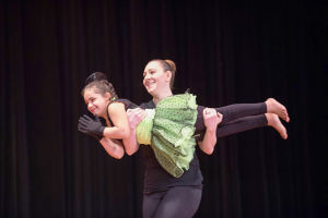 Student Mariah Helmer and her instructor Laura Pietak during a solo dance practice at Moving Miracles.