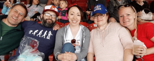 Members of Invisible Illness Game Night Meetup Group enjoying time together at a Buffalo Bisons game. From left are Joe Kendall, Ryan Gurnett, Kelly Gurnett, Crystal Fudalik and Jenn Offhaus.