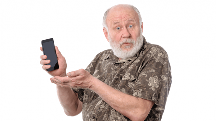 old man holding a smart phone