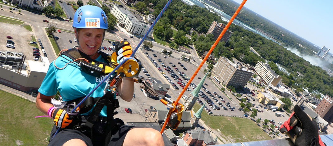 Doreen Fahey propelled off the side of the Seneca Niagara Casino as part of a fundraiser for Special Olympics in 2016.