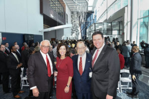 "Attending the ECMC event are, from left, Russell J. Salvatore, restaurateur / philanthropist; Kathleen ""Kathy"" C. Hochul, Lieutenant Governor of New York state; Jonathan A. Dandes, ECMC Corporation's chairman of the board ; and Thomas J. Quatroche Jr., PhD, president & CEO, ECMC Corporation."