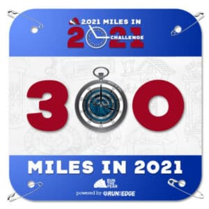 A bib awarded for hitting 300 miles.
