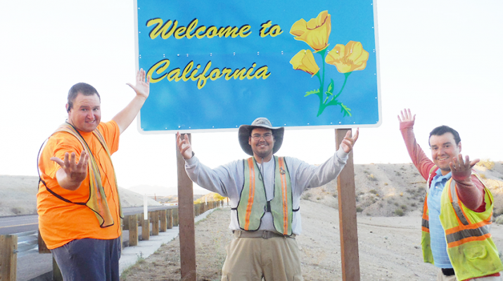 Jason Rogers, Chris Cooke, Joe Cooke, all from the Riverside area in Buffalo, as they arrived in Calfornia earlier this year. The trio embarked on a cross-country walk that took them through 12 states in 12 months. Their goal was to lose weight — and have some fun in the process.
