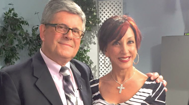 """Robbie Raugh, an international certified fitness trainer, registered nurse, radio host, health and fitness expert, recently celebrated 60 years. """"60 is the new 40,"""" she says. Next to her is Jon Summer, co host of AM Buffalo on WKBW-TV."""