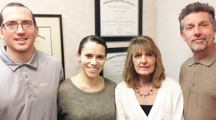Team of chiropractors at Amherst Chiropractic: Zach Kashevaroff, from left, followed by Chelsea, Elizabeth and Tom Lyons. The Lyons have been in business for 30 years. Daughter Chelsea recently joined the business.