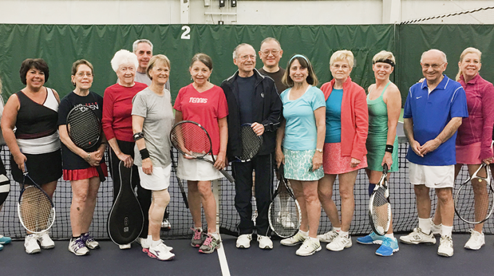 Tennis group at Miller: A bunch of the regulars at Behr's Thursday morning indoor tennis session. The informal league started in 2002 with four players. Now, more than 20 people play.