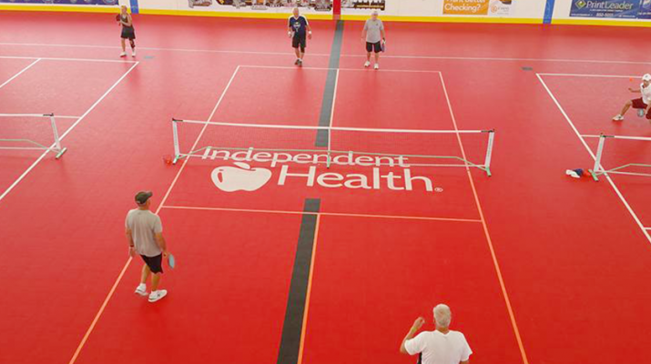 Group of people play pickleball at Buffalo RiverWorks in Buffalo. The sport has grown in popularity nationwide. In the Buffalo area, more than 1,000 people play on a regular basis.