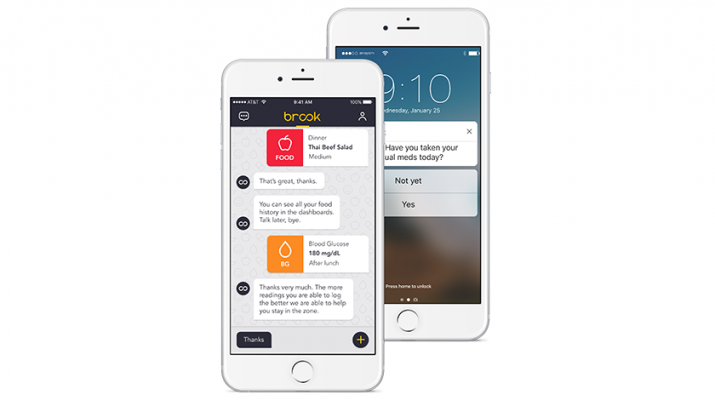 The Brook app is promoted as simple to use and innovative in its responsiveness. Among many other features, it stores and displays a user's diabetes data, like blood glucose readings, medications, food and activity, with the option to download and print out.