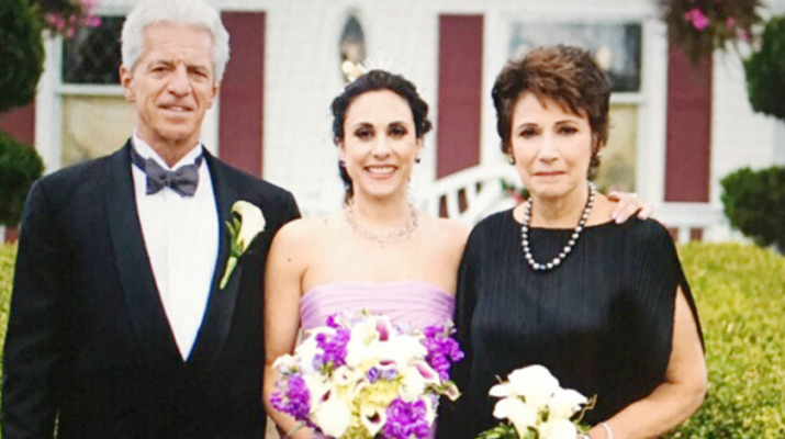 Alexa with her dad Tom and mom Stacey at her wedding last year. Alexa was a student in Boston in 1999 when she was was raped at knifepoint in her dormitory. She later formed a foundation to help victims of sexual assault.