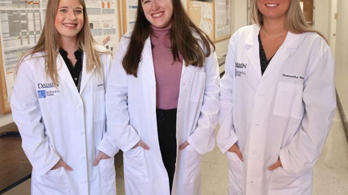 Daemen College's specialized cytotechnology program student Jessica Pillard (from left) Lia Harmon and Samantha Wozniak.