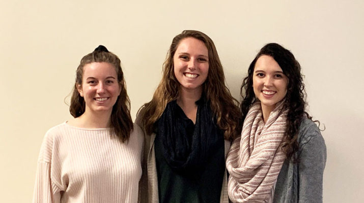 Daemen students Brook Bittner, from left, Rachel Shopene and Elizabeth Galleher placed first place in a national competition sponsored by the American Physical Therapy Association.