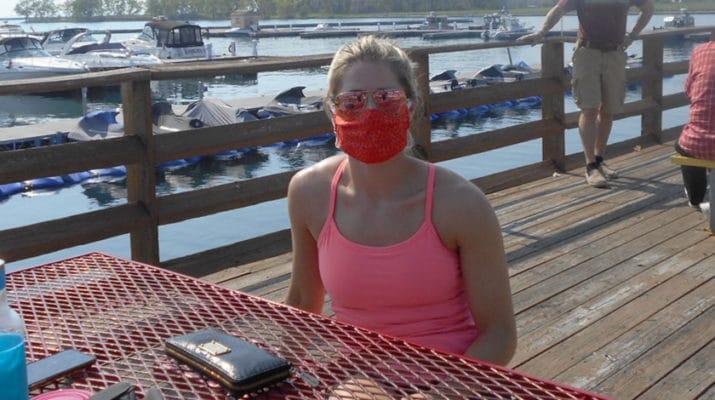 Wearing mask at Charlie's BoatYard Restaurant, 1111 Fuhrmann Blvd, Buffalo.